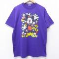 L★古着 半袖 ビンテージ Tシャツ 90年代 90s ディズニー DISNEY ミッキー MICKEY MOUSE クルーネック USA製 紫 パープル 20sep22 中古 メンズ