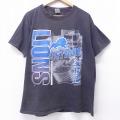 XL★古着 半袖 ビンテージ Tシャツ 90年代 90s NFL デトロイトライオンズ 大きいサイズ コットン クルーネック 黒 ブラック アメフト スーパーボウル 20sep22 中古 メンズ