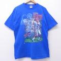 L★古着 半袖 ビンテージ Tシャツ 90年代 90s NFL バッファロービルズ ダグフルーティ コットン クルーネック 青 ブルー アメフト スーパーボウル 20sep22 中古 メンズ