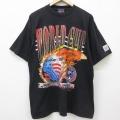 XL★古着 半袖 ビンテージ Tシャツ 90年代 90s ワールドカップ サッカー コットン クルーネック 黒 ブラック 21mar04 中古 メンズ