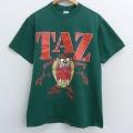 L★古着 半袖 ビンテージ Tシャツ 90年代 90s ルーニーテューンズ LOONEY TUNES タズ クルーネック USA製 緑 グリーン 21mar19 中古 メンズ