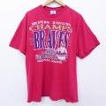 XL★古着 半袖 ビンテージ Tシャツ 90年代 90s リー Lee MLB アトランタブレーブス 大きいサイズ コットン クルーネック USA製 赤 レッド メジャーリーグ ベースボール 野球 21mar22 中古 メンズ