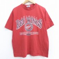 XL★古着 半袖 ビンテージ Tシャツ 90年代 90s NHL デトロイトレッドウィングス コットン クルーネック 赤 レッド アイスホッケー 21mar24 中古 メンズ