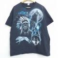 XL★古着 半袖 Tシャツ スケルトン オオカミ インディアン コットン クルーネック 黒 ブラック 21mar29 中古 メンズ