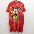 XL★古着 半袖 ビンテージ Tシャツ 90年代 90s ディズニー DISNEY ミッキー MICKEY MOUSE 大きいサイズ ロング丈 コットン クルーネック USA製 赤 レッド ブリーチ加工 21apr12 中古 メンズ