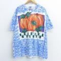 XL★古着 半袖 ビンテージ Tシャツ 90年代 90s パンプキン 総柄 大きいサイズ ロング丈 クルーネック USA製 青他 ブルー 21apr13 中古 メンズ