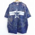 XL★古着 半袖 ビンテージ Tシャツ 90年代 90s ナイキ NIKE 星 大きいサイズ コットン クルーネック USA製 紺他 ネイビー 21apr13 中古 メンズ