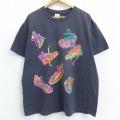 XL★古着 半袖 ビンテージ Tシャツ 90年代 90s スニーカー 大きいサイズ コットン クルーネック 黒 ブラック 【spe】 21apr13 中古 メンズ