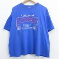 XL★古着 半袖 ビンテージ Tシャツ 90年代 90s NHL ニューヨークレンジャース 刺繍 大きいサイズ クルーネック 青 ブルー アイスホッケー 21apr22 中古 メンズ