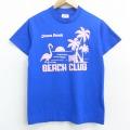 S★古着 半袖 ビンテージ Tシャツ 80年代 80s フラミンゴ ヤシの木 ビーチクラブ クルーネック 青 ブルー 21apr22 中古 メンズ
