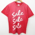 L★古着 半袖 ビンテージ Tシャツ 90年代 90s ヘインズ Hanes セール コットン クルーネック 赤 レッド 21apr26 中古 メンズ
