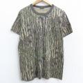 L★古着 半袖 ビンテージ Tシャツ 90年代 90s リアルツリー 胸ポケット付き クルーネック USA製 茶他 ブラウン 迷彩 21apr27 中古 メンズ
