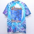 XL★古着 半袖 ビンテージ ロック バンド Tシャツ 90年代 90s ラッシュ コットン クルーネック 青 ブルー タイダイ 20apr02 中古 メンズ