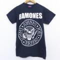 XS★古着 半袖 ビンテージ ロック バンド Tシャツ 00年代 00s ラモーンズ コットン クルーネック 黒 ブラック 20jun25 中古 メンズ