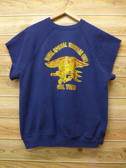 L★古着 半袖 スウェット 90年代 ミリタリー NAVAL シールズ USA製 紺 ネイビー 18jun15 中古 メンズ スエット トレーナー トップス WS
