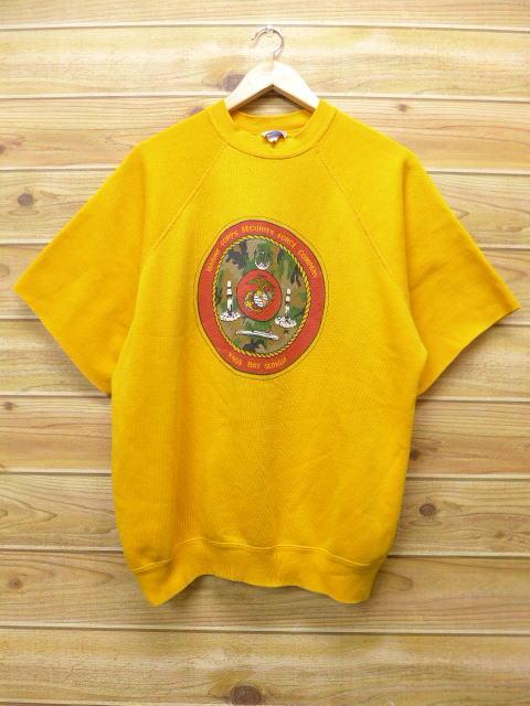 XL★古着 半袖 スウェット 80年代 ミリタリー USA製 黄 イエロー 18sep10 中古 メンズ スエット トレーナー トップス