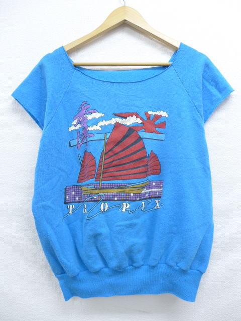 L★古着 ノースリーブ スウェット 80年代 香港 ヨット 青 ブルー 【spe】 19may14 中古 メンズ スエット トレーナー トップス