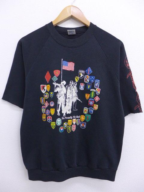 M★古着 半袖 スウェット 80年代 星条旗 USA製 黒 ブラック 【spe】 19jul09 中古 メンズ スエット トレーナー トップス