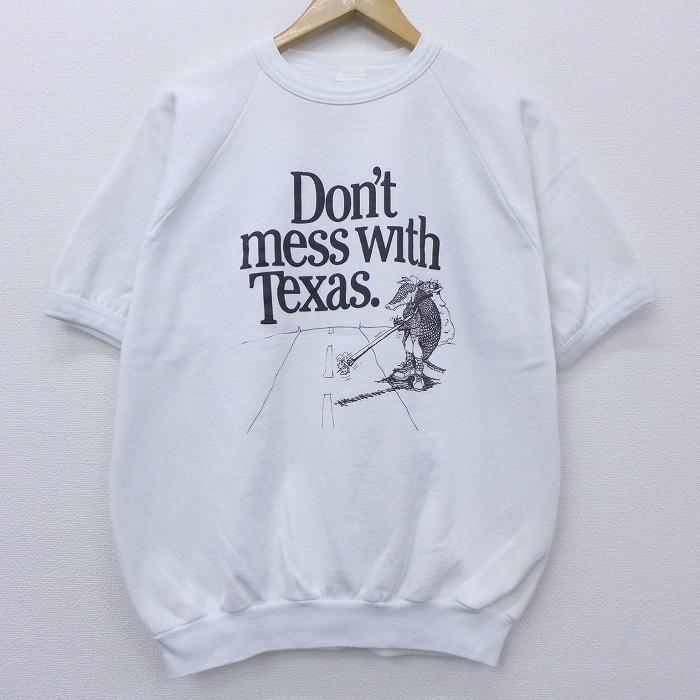 L★古着 半袖 スウェット 80年代 80s アルマジロ テキサス ラグラン クルーネック USA製 白 ホワイト 【spe】 20sep15 中古 メンズ スエット トレーナー トップス