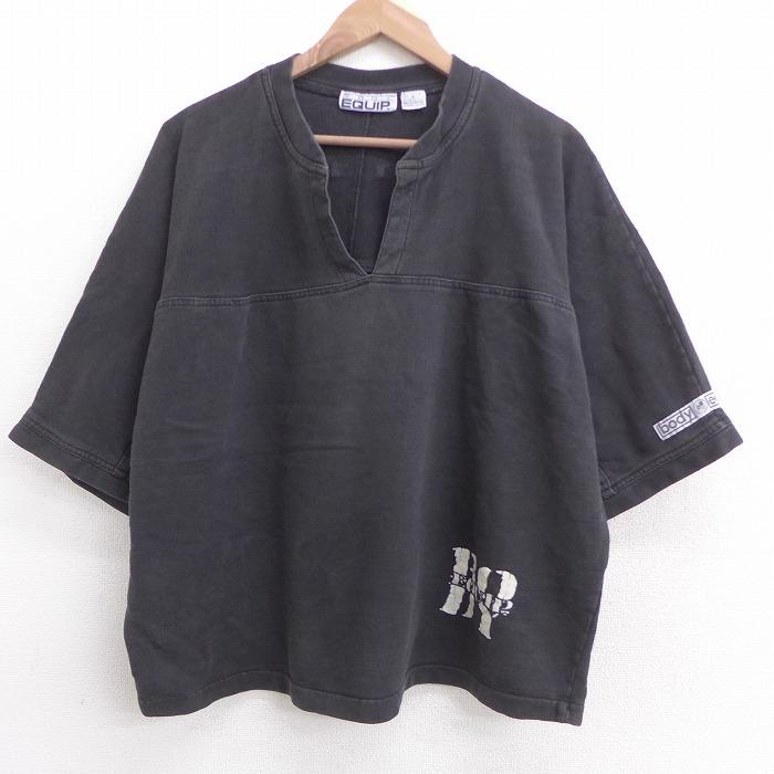 XL★古着 半袖 スウェット メンズ 90年代 90s 大きいサイズ コットン クルーネック 黒 ブラック 【spe】 21jun08 中古 スエット トレーナー トップス