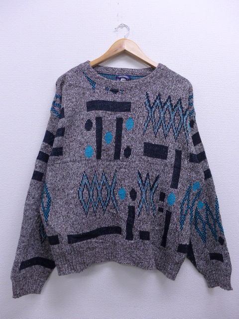 XL★古着 セーター 80年代 こげ茶 ブラウン 霜降り 【spe】 19feb08 中古 メンズ ニット トップス