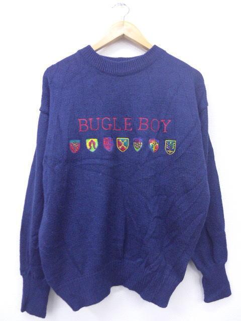 L★古着 セーター 90年代 ビューグルボーイ 刺繍 紺 ネイビー 【spe】 19mar12 中古 メンズ ニット トップス