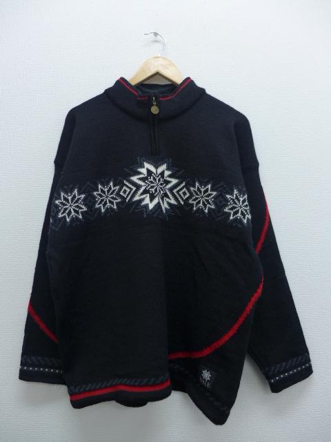 L★古着 長袖 セーター トリノオリンピック 雪柄 ウール ノルウェー製 黒 ブラック 19sep12 中古 メンズ ニット トップス