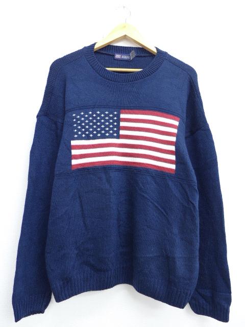 M★古着 長袖 セーター 星条旗 クルーネック USA製 紺 ネイビー 19oct10 中古 メンズ ニット トップス