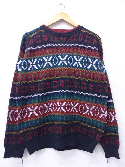 L★古着 長袖 セーター 90年代 クルーネック 黒他 ブラック 19oct25 中古 メンズ ニット トップス