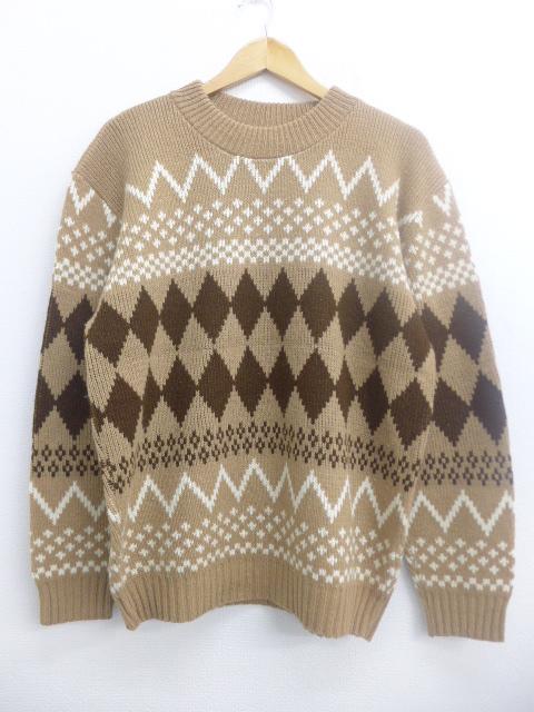 XL★古着 長袖 セーター 80年代 80s クルーネック USA製 茶 ブラウン 19nov08 中古 メンズ ニット トップス
