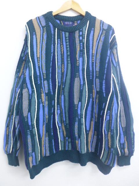 XL★古着 長袖 セーター 90年代 90s 3Dニット クルーネック コットン USA製 緑他 グリーン 【spe】 19nov08 中古 メンズ ニット トップス
