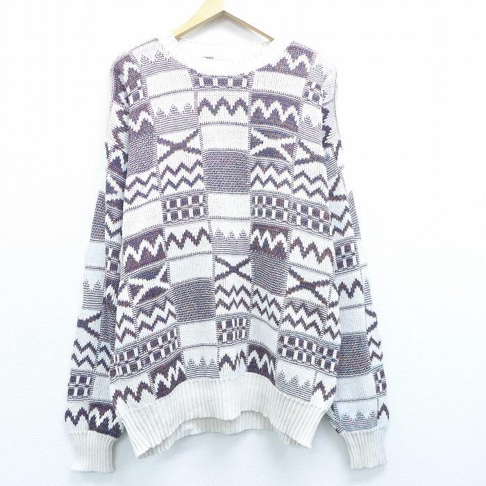 XL★古着 長袖 セーター 90年代 90s コットン クルーネック USA製 白他 ホワイト 19dec04 中古 メンズ ニット トップス