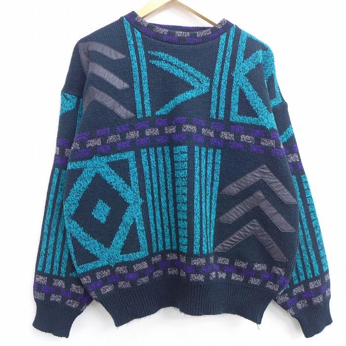 L★古着 長袖 セーター 90年代 90s レザー使用 クルーネック 黒他 ブラック 20jan14 中古 メンズ ニット トップス