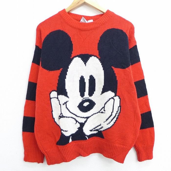 L★古着 長袖 セーター 90年代 90s ディズニー DISNEY ミッキー MICKEY MOUSE クルーネック 赤 レッド 【spe】 20oct15 中古 メンズ ニット トップス
