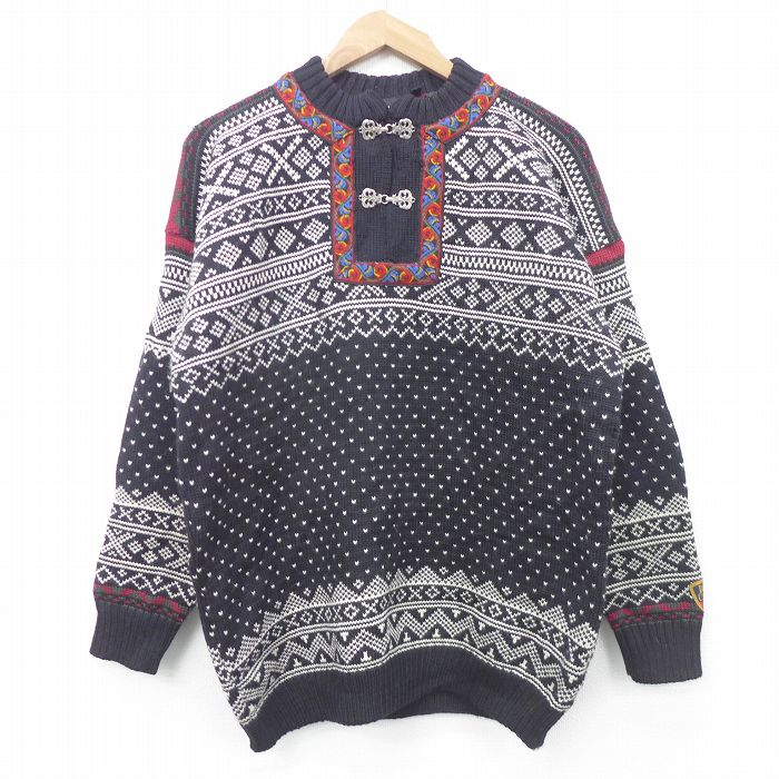 L★古着 長袖 セーター メンズ 90年代 90s ウール カナダ製 黒他 ブラック 【spe】 21oct11 中古 ニット トップス