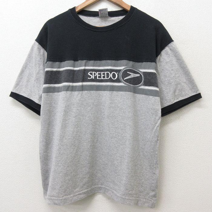 XL★古着 スピード SPEEDO 半袖 ビンテージ Tシャツ メンズ 90年代 90s コットン クルーネック グレー 霜降り 【spe】 21jul19 中古