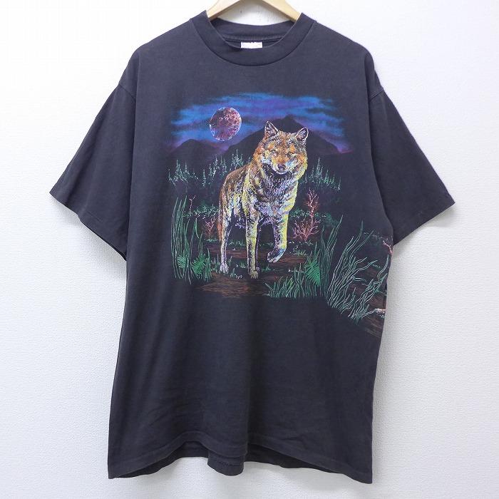 XL★古着 半袖 ビンテージ Tシャツ 90年代 90s オオカミ コットン クルーネック USA製 黒 ブラック 【spe】 20jun29 中古 メンズ