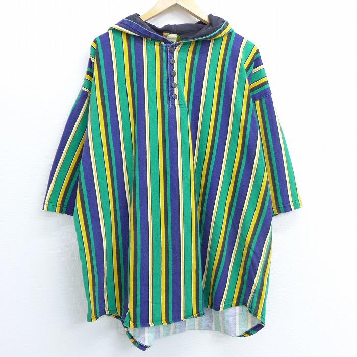 XL★古着 7分袖 ビンテージ Tシャツ パーカー 90年代 90s 無地 大きいサイズ 緑他 グリーン ストライプ 【spe】 20jun29 中古 メンズ 半袖