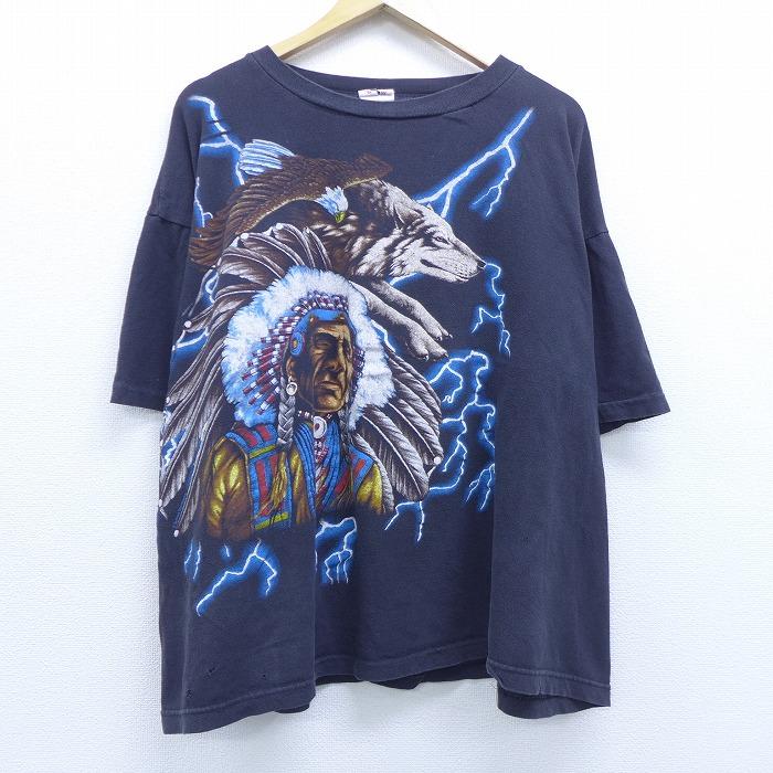 XL★古着 半袖 ビンテージ Tシャツ 90年代 90s USAサンダー インディアン ワシ オオカミ サンダー 大きいサイズ コットン クルーネック 黒 ブラック 【spe】 20jun29 中古 メンズ
