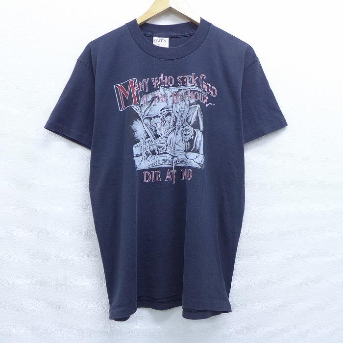 L★古着 半袖 ビンテージ Tシャツ 90年代 90s MANY DIE スケルトン 死神 クルーネック USA製 黒 ブラック 【spe】 20jun29 中古 メンズ