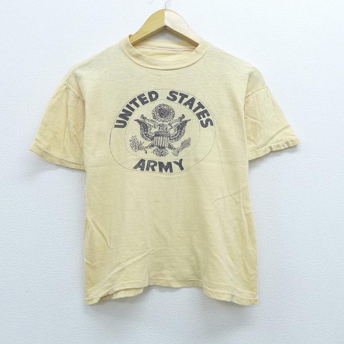 S★古着 半袖 ビンテージ Tシャツ 70年代 70s ミリタリー アーミー ARMY MASH クルーネック コットン ベージュ カーキ 【spe】 20jun29 中古 メンズ