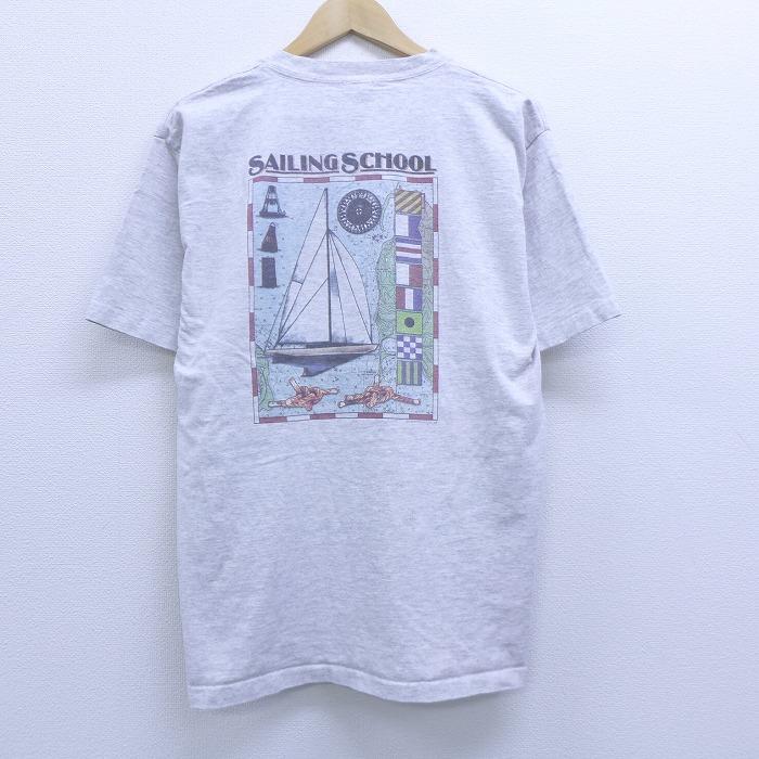 L★古着 半袖 ビンテージ Tシャツ 90年代 90s セーリング ヨット 地図 コットン クルーネック USA製 グレー 霜降り 【spe】 20jun29 中古 メンズ
