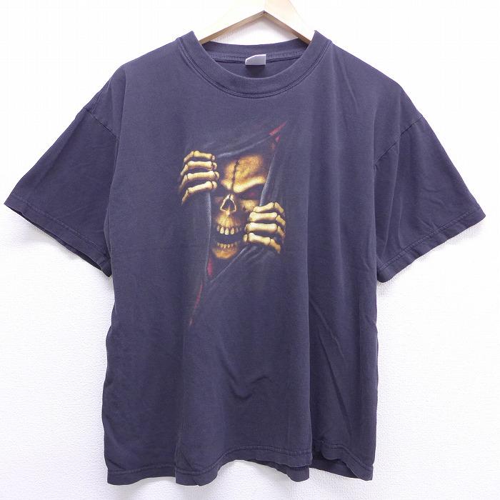 XL★古着 半袖 ビンテージ Tシャツ 00年代 00s スカル コットン クルーネック 黒 ブラック 【spe】 20jun29 中古 メンズ