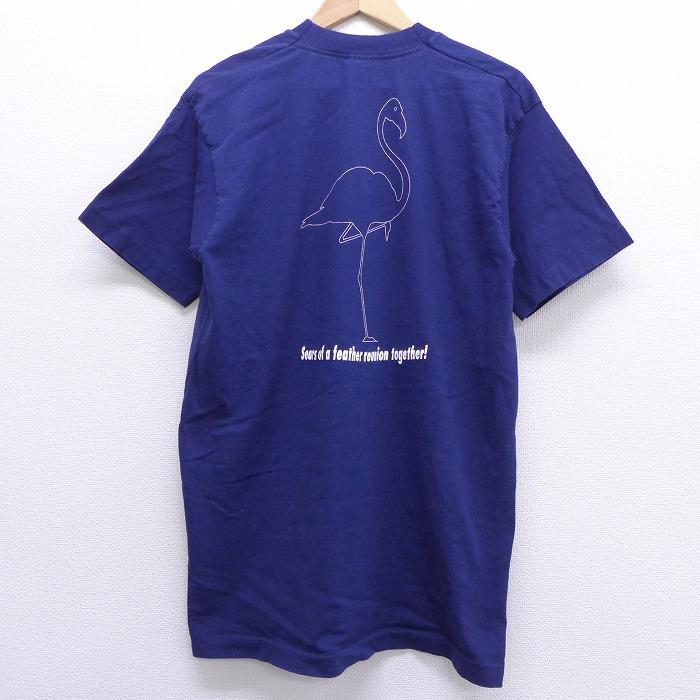 L★古着 半袖 ビンテージ Tシャツ 90年代 90s フラミンゴ 胸ポケット付き ロング丈 コットン クルーネック 紺 ネイビー 【spe】 20jun29 中古 メンズ