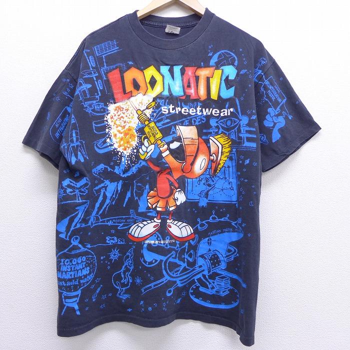 XL★古着 半袖 ビンテージ Tシャツ 90年代 90s ルーニーテューンズ LOONEY TUNES マービンザマーシャン 全面プリント 黒 ブラック 【spe】 20jun29 中古 メンズ