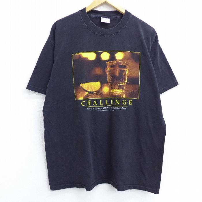 XL★古着 半袖 ビンテージ Tシャツ 00年代 00s テキーラ チャレンジ 酒 コットン クルーネック USA製 黒 ブラック 【spe】 20jun29 中古 メンズ