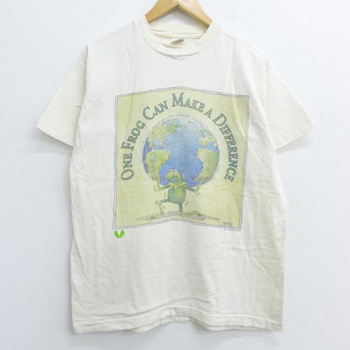 L★古着 半袖 ビンテージ Tシャツ 80年代 80s セサミストリート カーミット 地球 コットン クルーネック USA製 生成り 【spe】 20jun29 中古 メンズ