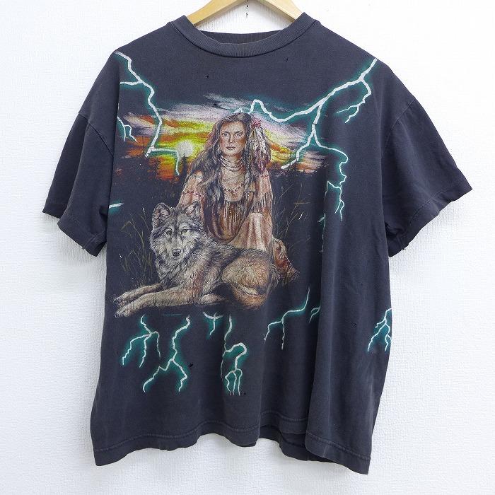 XL★古着 半袖 ビンテージ Tシャツ 90年代 90s アメリカンサンダー インディアン女性 大きいサイズ クルーネック 黒 ブラック 【spe】 20jun30 中古 メンズ