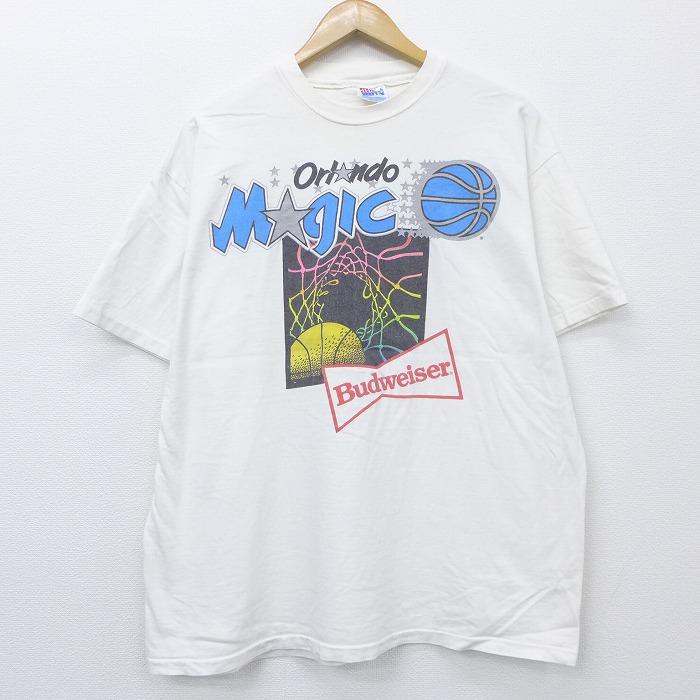 XL★古着 半袖 ビンテージ Tシャツ 90年代 90s NBA オーランドマジック バドワイザー ビール コットン クルーネック USA製 白 ホワイト 【spe】 20jul29 中古 メンズ