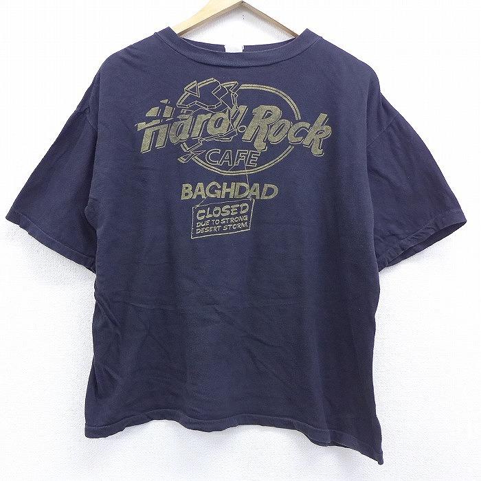 XL★古着 半袖 ビンテージ Tシャツ 90年代 90s ハードロックカフェ バグダッド 湾岸戦争 クルーネック 黒 ブラック 【spe】 20jul30 中古 メンズ